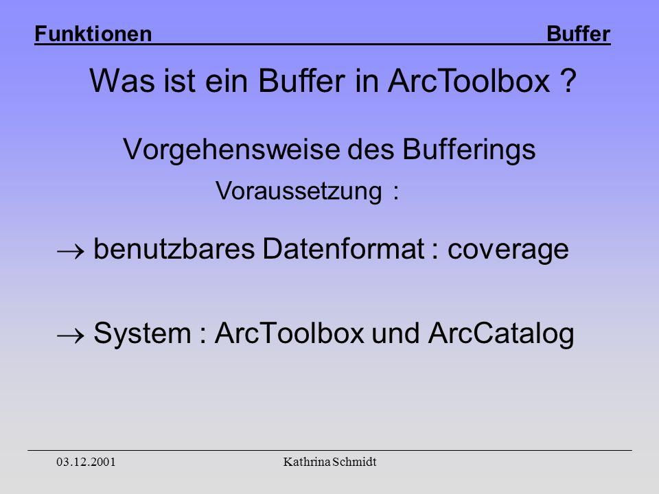 Funktionen Buffer 03.12.2001Kathrina Schmidt  benutzbares Datenformat : coverage  System : ArcToolbox und ArcCatalog Vorgehensweise des Bufferings Voraussetzung : Was ist ein Buffer in ArcToolbox