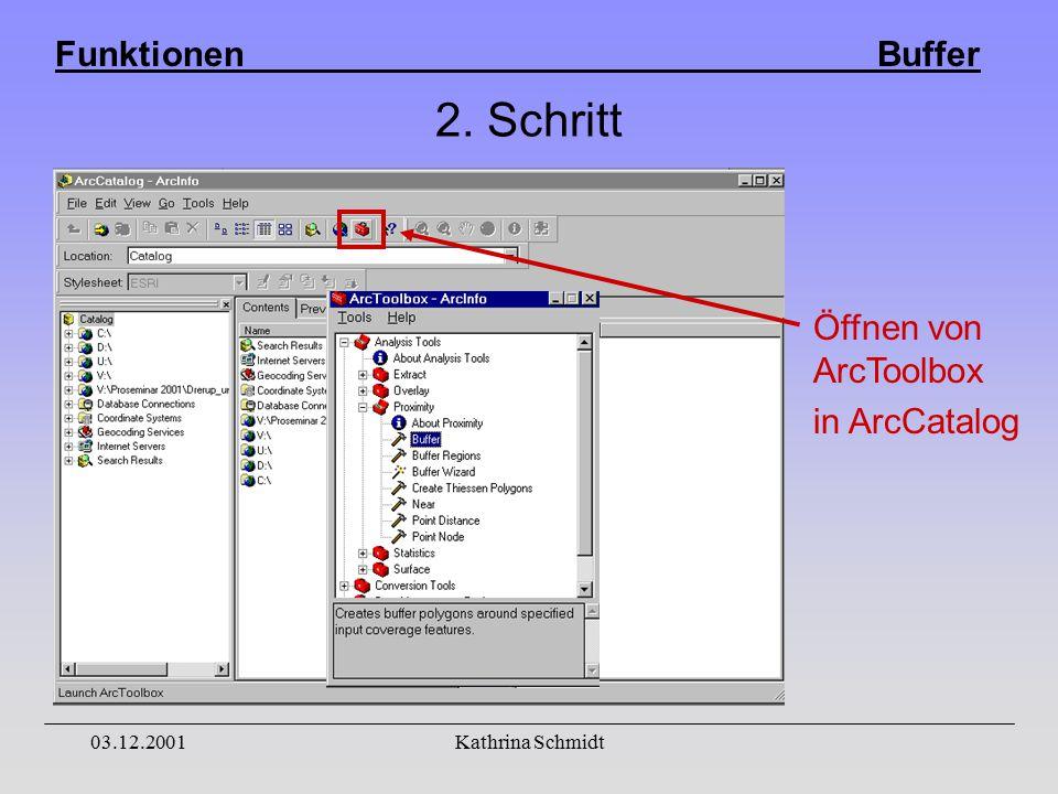 Funktionen Buffer 03.12.2001Kathrina Schmidt 2. Schritt Öffnen von ArcToolbox in ArcCatalog