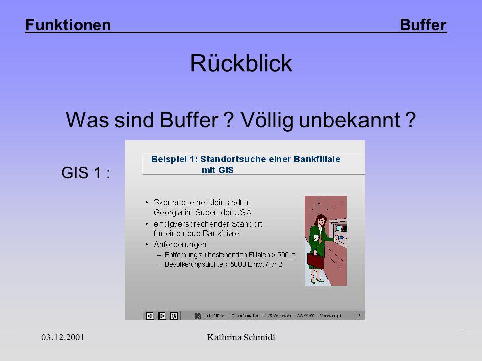 Funktionen Buffer 03.12.2001Kathrina Schmidt Rückblick Was sind Buffer Völlig unbekannt GIS 1 :