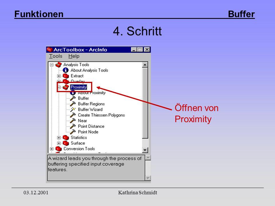 Funktionen Buffer 03.12.2001Kathrina Schmidt 4. Schritt Öffnen von Proximity