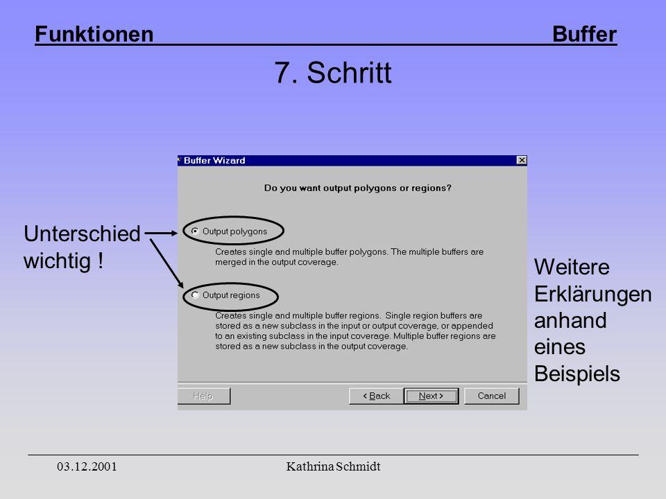 Funktionen Buffer 03.12.2001Kathrina Schmidt 7. Schritt Unterschied wichtig .