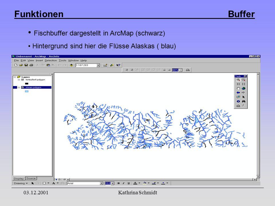 Funktionen Buffer 03.12.2001Kathrina Schmidt Fischbuffer dargestellt in ArcMap (schwarz) Hintergrund sind hier die Flüsse Alaskas ( blau)