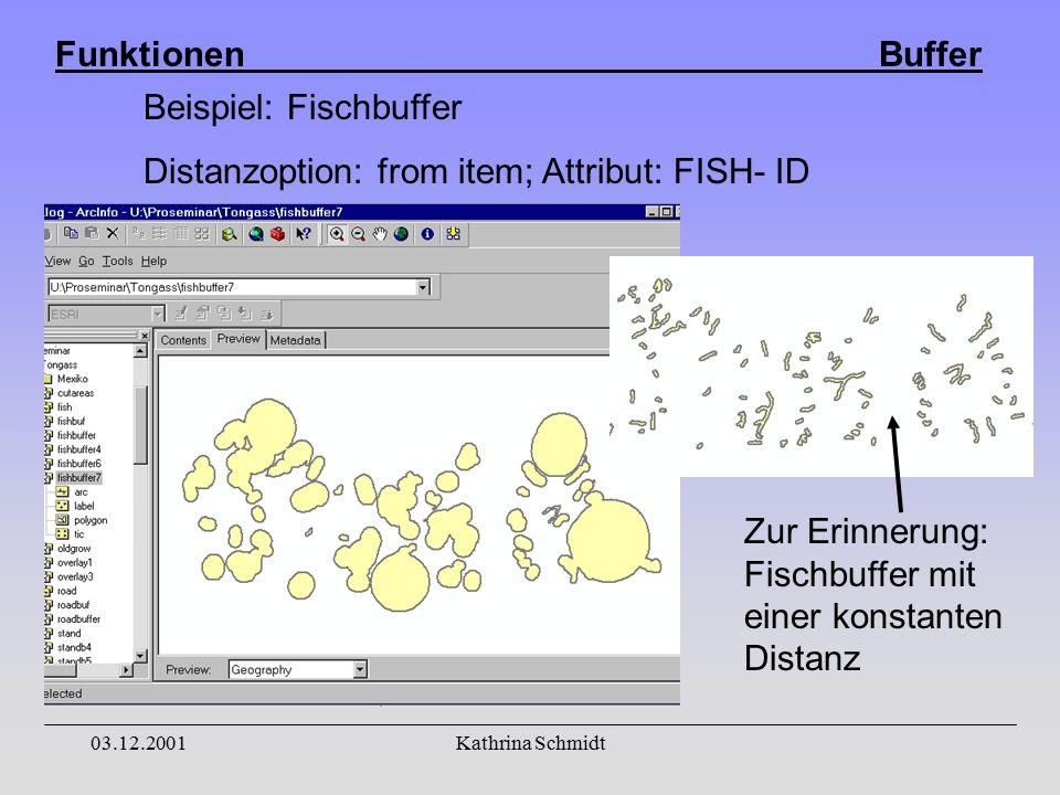 Funktionen Buffer 03.12.2001Kathrina Schmidt Beispiel: Fischbuffer Distanzoption: from item; Attribut: FISH- ID Zur Erinnerung: Fischbuffer mit einer konstanten Distanz
