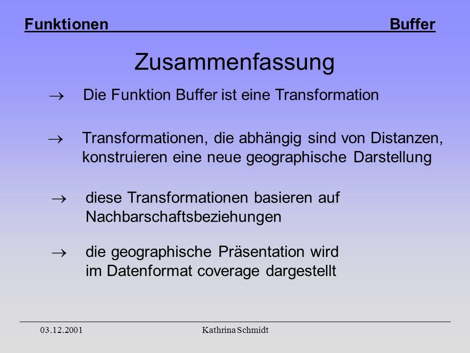 Funktionen Buffer 03.12.2001Kathrina Schmidt Zusammenfassung  Transformationen, die abhängig sind von Distanzen, konstruieren eine neue geographische Darstellung  diese Transformationen basieren auf Nachbarschaftsbeziehungen  die geographische Präsentation wird im Datenformat coverage dargestellt  Die Funktion Buffer ist eine Transformation