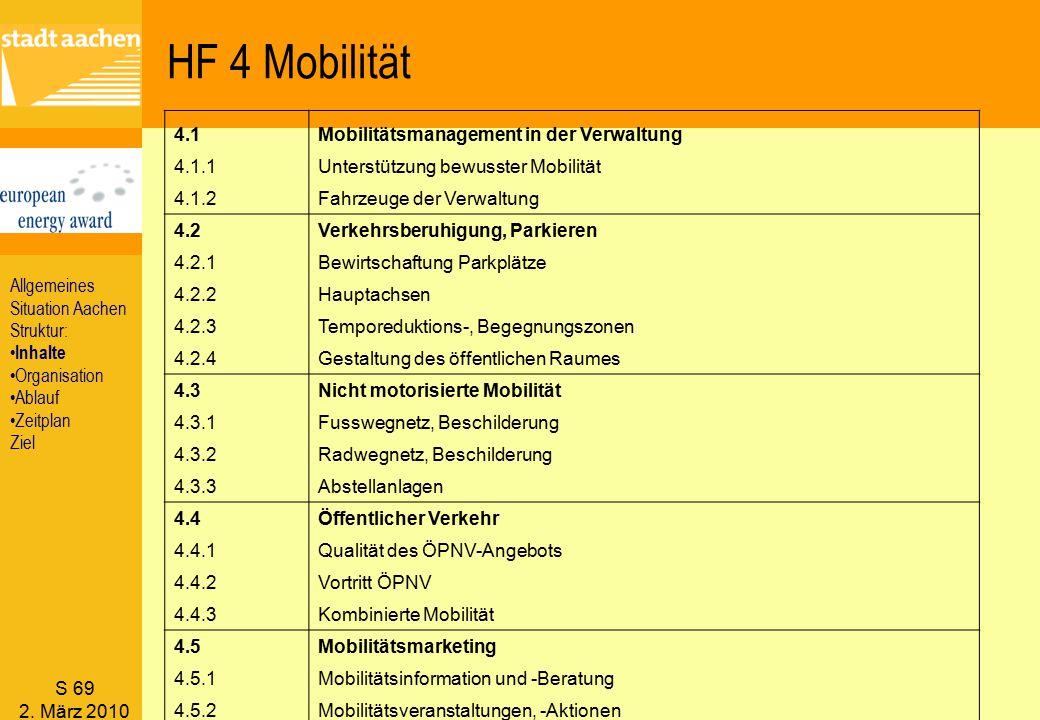 S 69 2. März 2010 HF 4 Mobilität 4.1Mobilitätsmanagement in der Verwaltung 4.1.1Unterstützung bewusster Mobilität 4.1.2Fahrzeuge der Verwaltung 4.2Ver