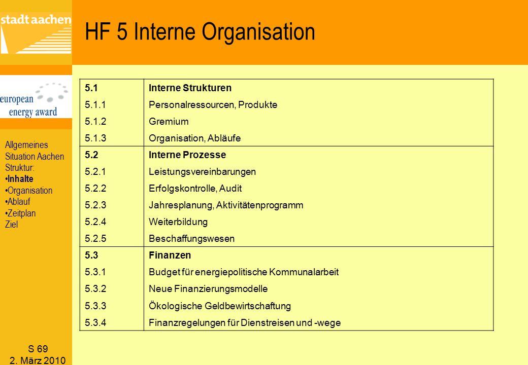 S 69 2. März 2010 HF 5 Interne Organisation 5.1Interne Strukturen 5.1.1Personalressourcen, Produkte 5.1.2Gremium 5.1.3Organisation, Abläufe 5.2Interne