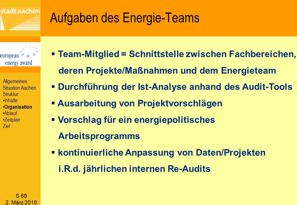 S 69 2. März 2010  Team-Mitglied = Schnittstelle zwischen Fachbereichen, deren Projekte/Maßnahmen und dem Energieteam  Durchführung der Ist-Analyse