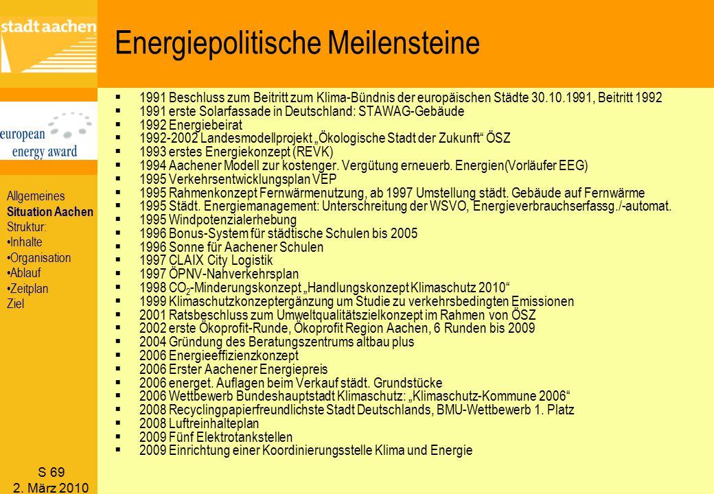 S 69 2. März 2010 Energiepolitische Meilensteine  1991 Beschluss zum Beitritt zum Klima-Bündnis der europäischen Städte 30.10.1991, Beitritt 1992  1