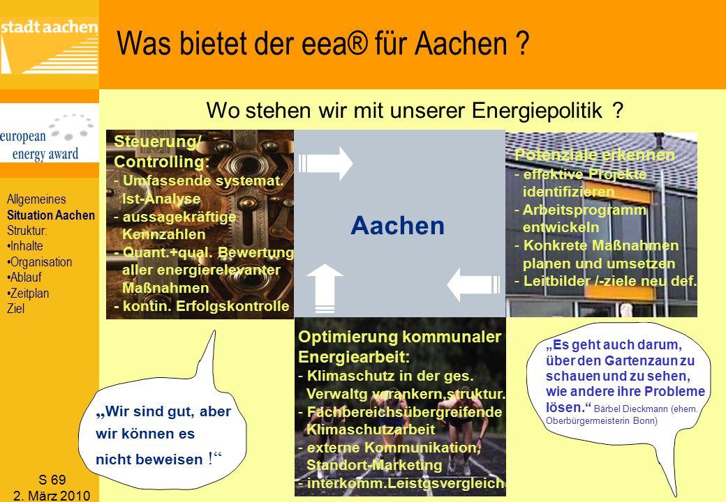 S 69 2. März 2010 Aachen Was bietet der eea® für Aachen ? Potenziale erkennen - effektive Projekte identifizieren - Arbeitsprogramm entwickeln - Konkr