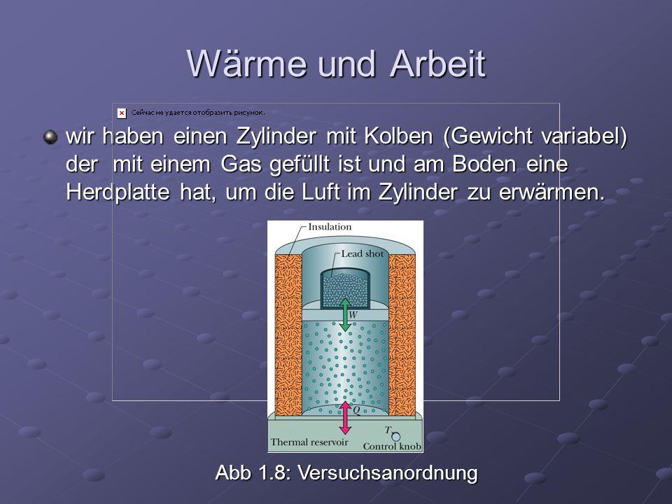 Wärme und Arbeit wir haben einen Zylinder mit Kolben (Gewicht variabel) der mit einem Gas gefüllt ist und am Boden eine Herdplatte hat, um die Luft im