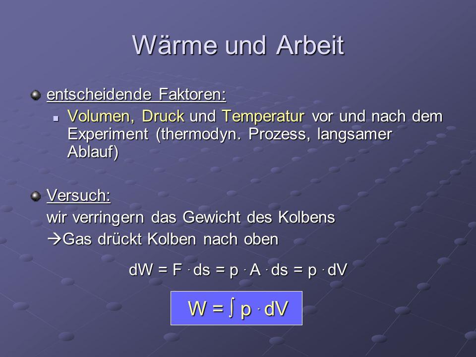 entscheidende Faktoren: Volumen, Druck und Temperatur vor und nach dem Experiment (thermodyn. Prozess, langsamer Ablauf) Volumen, Druck und Temperatur
