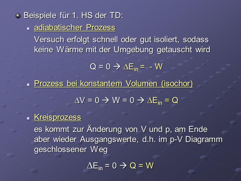 Beispiele für 1. HS der TD: adiabatischer Prozess adiabatischer Prozess Versuch erfolgt schnell oder gut isoliert, sodass keine Wärme mit der Umgebung