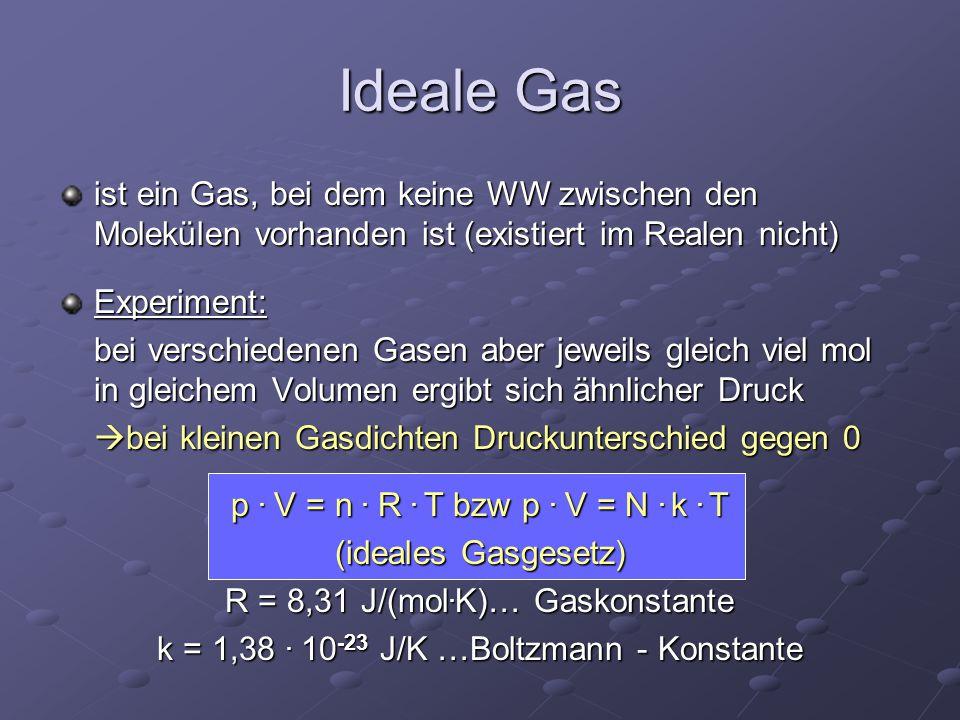 Ideale Gas ist ein Gas, bei dem keine WW zwischen den Molekülen vorhanden ist (existiert im Realen nicht) Experiment: bei verschiedenen Gasen aber jew