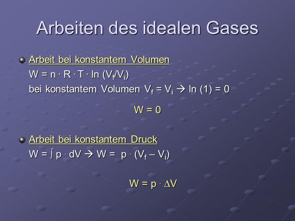 Arbeit bei konstantem Volumen W = n. R. T. ln (V f /V i ) bei konstantem Volumen V f = V i  ln (1) = 0 W = 0 Arbeit bei konstantem Druck W =  p. dV