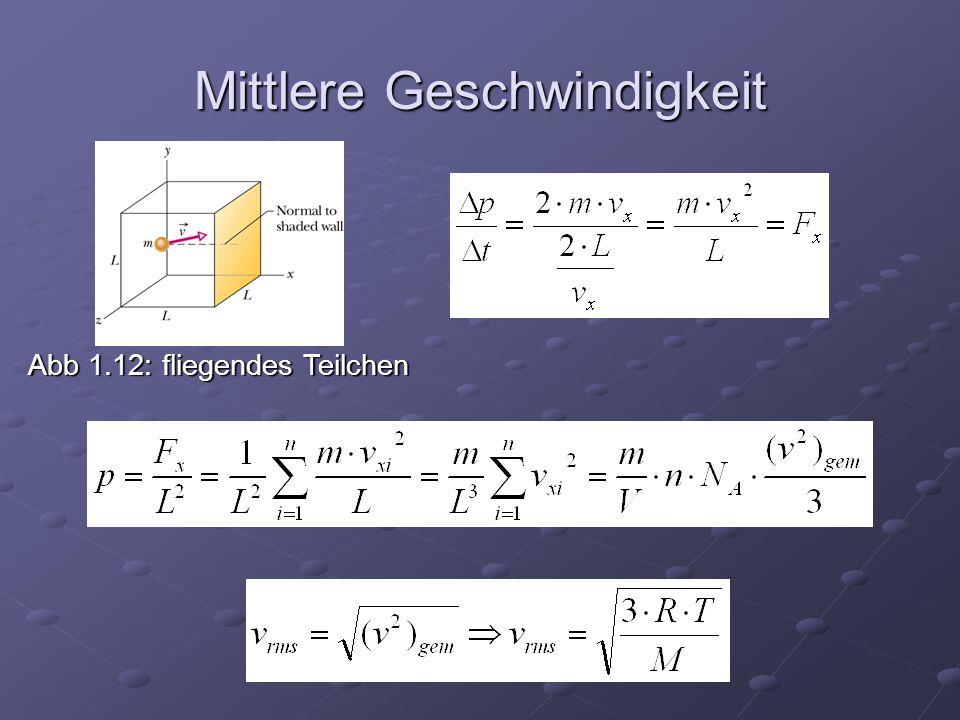 Mittlere Geschwindigkeit Abb 1.12: fliegendes Teilchen