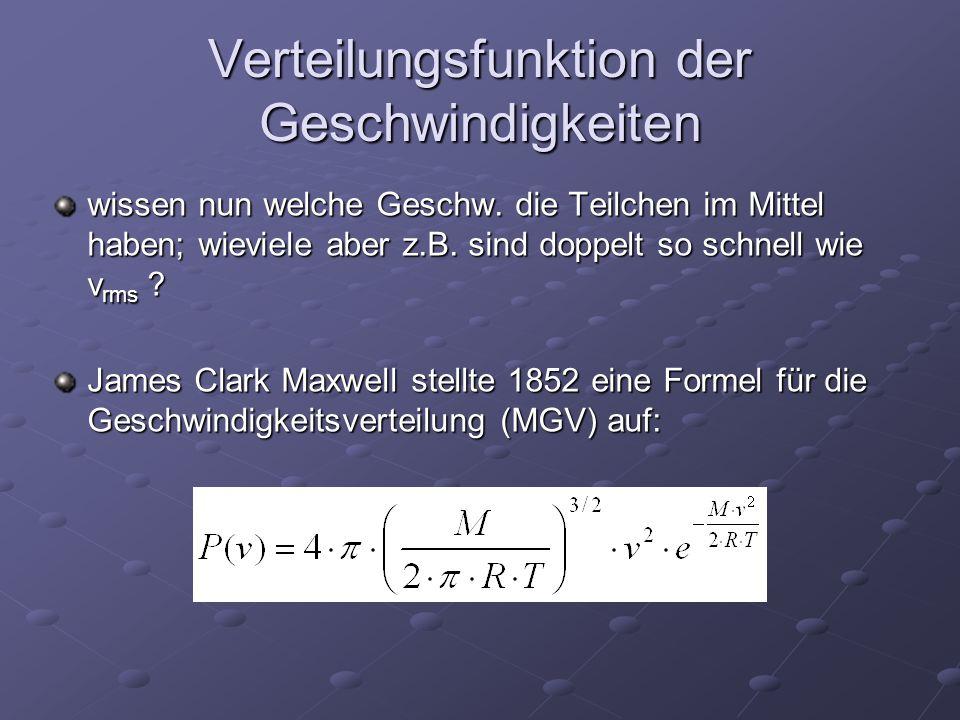 Verteilungsfunktion der Geschwindigkeiten wissen nun welche Geschw. die Teilchen im Mittel haben; wieviele aber z.B. sind doppelt so schnell wie v rms