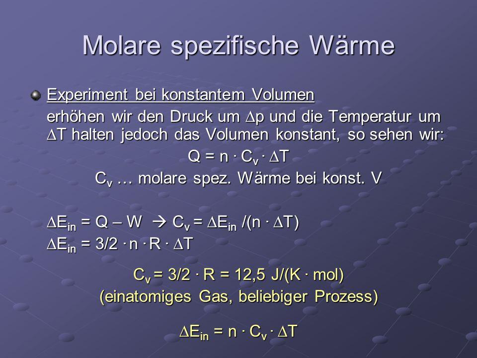 Molare spezifische Wärme Experiment bei konstantem Volumen erhöhen wir den Druck um  p und die Temperatur um  T halten jedoch das Volumen konstant,
