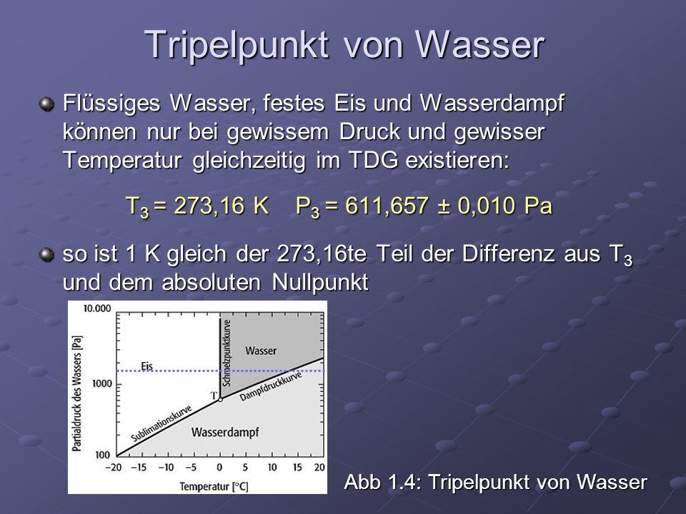 Tripelpunkt von Wasser Flüssiges Wasser, festes Eis und Wasserdampf können nur bei gewissem Druck und gewisser Temperatur gleichzeitig im TDG existier