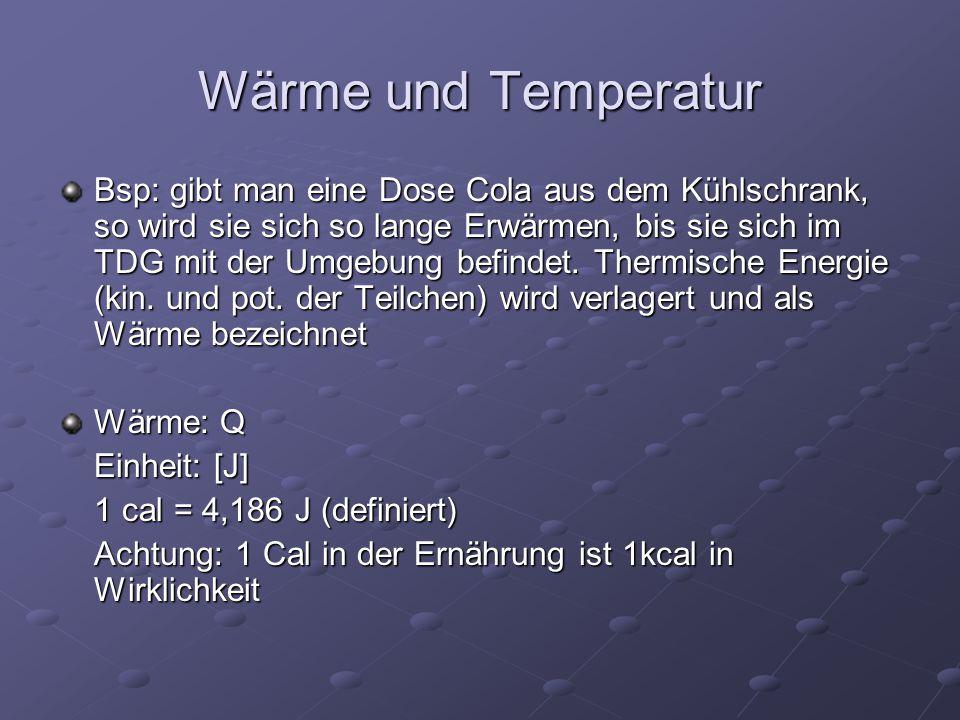 Wärme und Temperatur Bsp: gibt man eine Dose Cola aus dem Kühlschrank, so wird sie sich so lange Erwärmen, bis sie sich im TDG mit der Umgebung befind