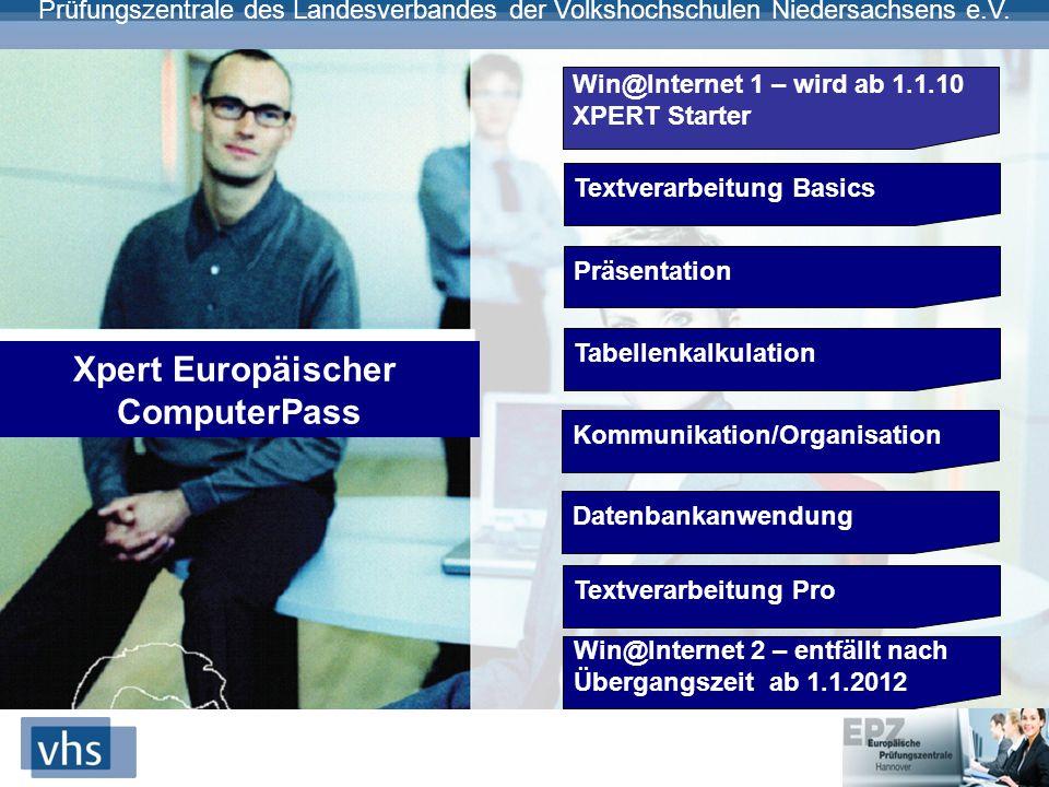 Prüfungszentrale des Landesverbandes der Volkshochschulen Niedersachsens e.V. Win@Internet 1 – wird ab 1.1.10 XPERT Starter Textverarbeitung Basics Pr