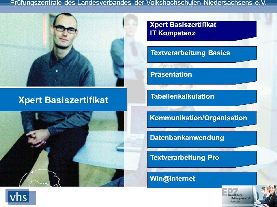 Prüfungszentrale des Landesverbandes der Volkshochschulen Niedersachsens e.V. Xpert Basiszertifikat IT Kompetenz Textverarbeitung Basics Präsentation