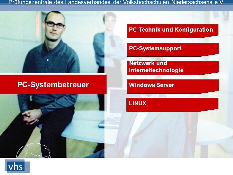 Prüfungszentrale des Landesverbandes der Volkshochschulen Niedersachsens e.V. PC-Systembetreuer PC-Technik und Konfiguration PC-Systemsupport Netzwerk