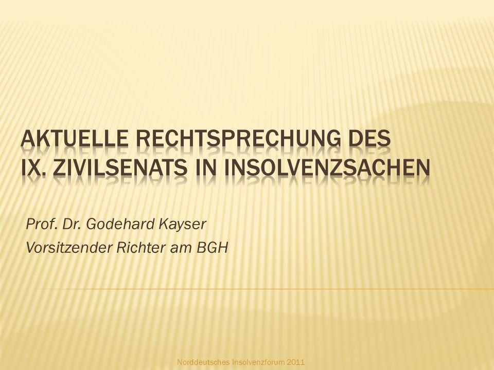 Prof. Dr. Godehard Kayser Vorsitzender Richter am BGH Norddeutsches Insolvenzforum 2011