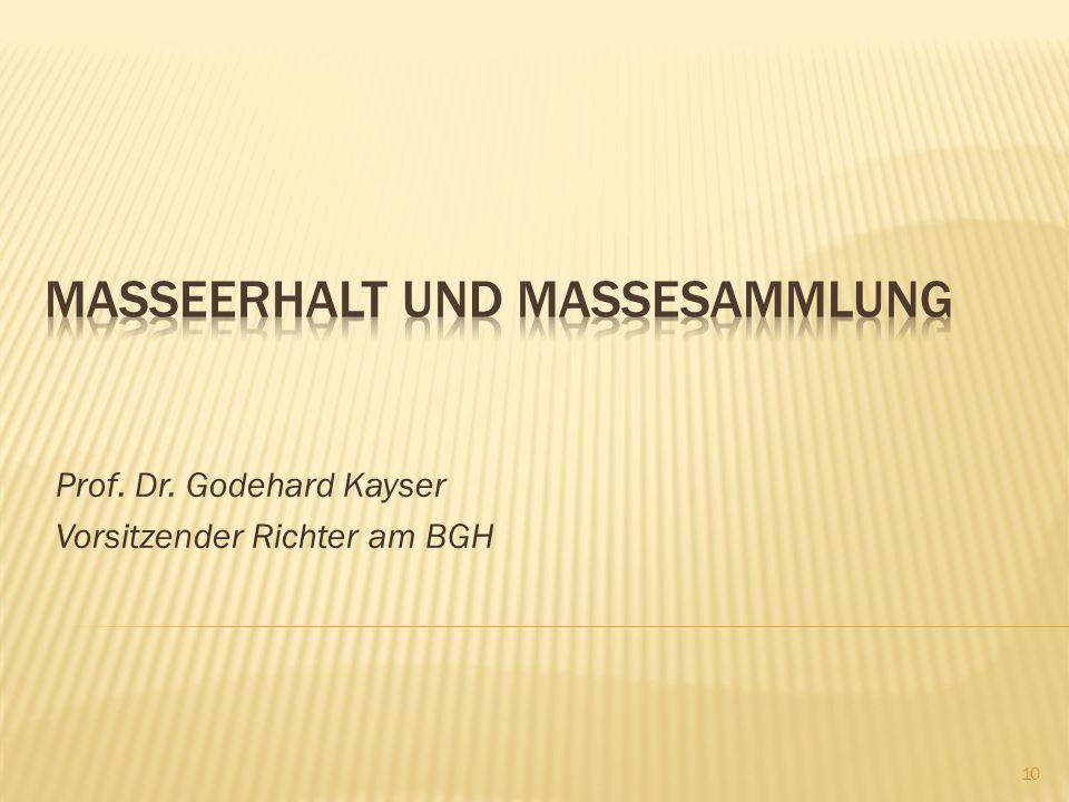 Prof. Dr. Godehard Kayser Vorsitzender Richter am BGH 10
