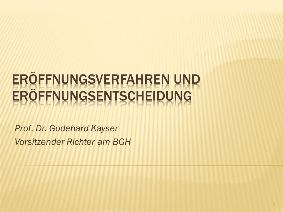 Prof. Dr. Godehard Kayser Vorsitzender Richter am BGH 2