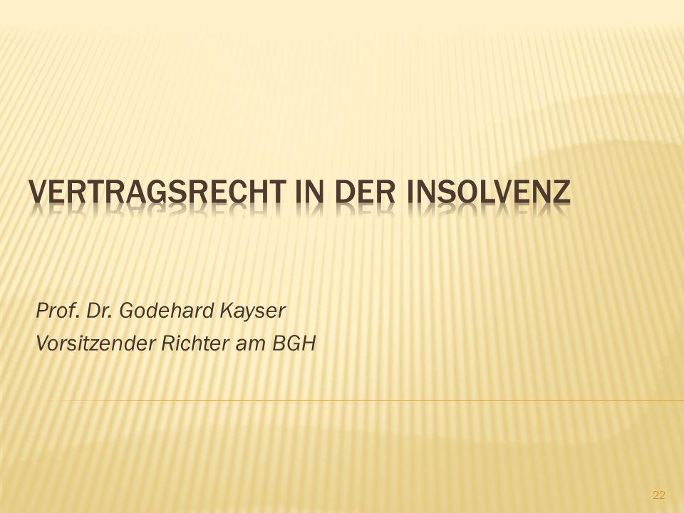Prof. Dr. Godehard Kayser Vorsitzender Richter am BGH 22