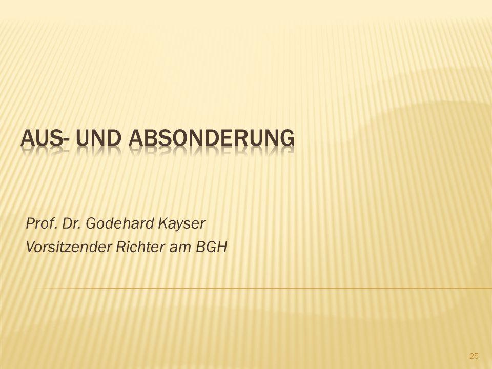 Prof. Dr. Godehard Kayser Vorsitzender Richter am BGH 25