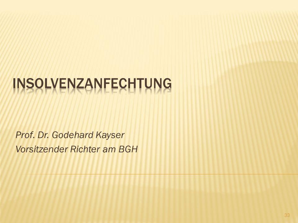 Prof. Dr. Godehard Kayser Vorsitzender Richter am BGH 33