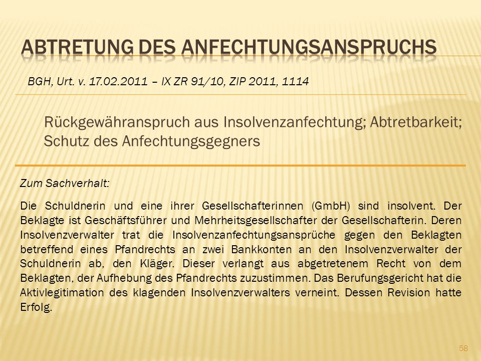 Rückgewähranspruch aus Insolvenzanfechtung; Abtretbarkeit; Schutz des Anfechtungsgegners BGH, Urt. v. 17.02.2011 – IX ZR 91/10, ZIP 2011, 1114 Zum Sac