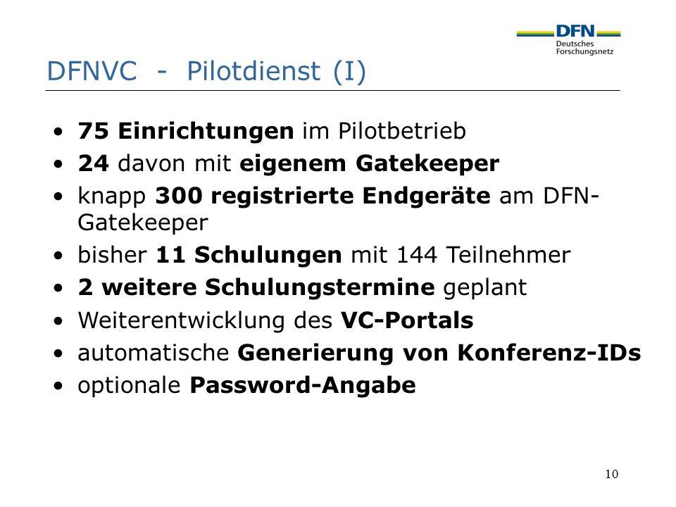 10 DFNVC - Pilotdienst (I) 75 Einrichtungen im Pilotbetrieb 24 davon mit eigenem Gatekeeper knapp 300 registrierte Endgeräte am DFN- Gatekeeper bisher