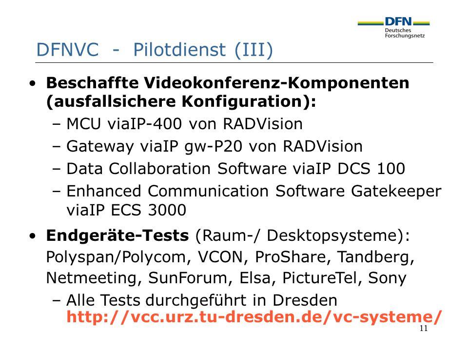 11 DFNVC - Pilotdienst (III) Beschaffte Videokonferenz-Komponenten (ausfallsichere Konfiguration): –MCU viaIP-400 von RADVision –Gateway viaIP gw-P20