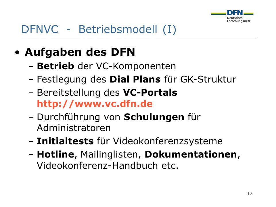 12 DFNVC - Betriebsmodell (I) Aufgaben des DFN –Betrieb der VC-Komponenten –Festlegung des Dial Plans für GK-Struktur –Bereitstellung des VC-Portals h
