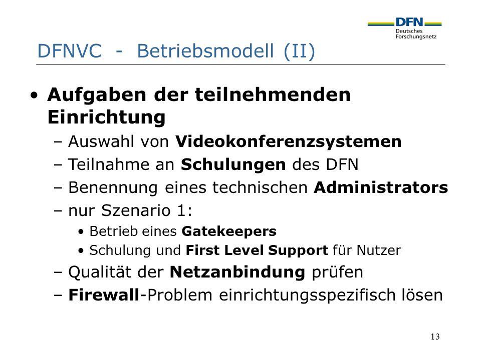 13 DFNVC - Betriebsmodell (II) Aufgaben der teilnehmenden Einrichtung –Auswahl von Videokonferenzsystemen –Teilnahme an Schulungen des DFN –Benennung