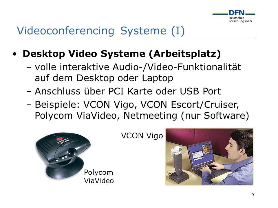 5 Desktop Video Systeme (Arbeitsplatz) –volle interaktive Audio-/Video-Funktionalität auf dem Desktop oder Laptop –Anschluss über PCI Karte oder USB P