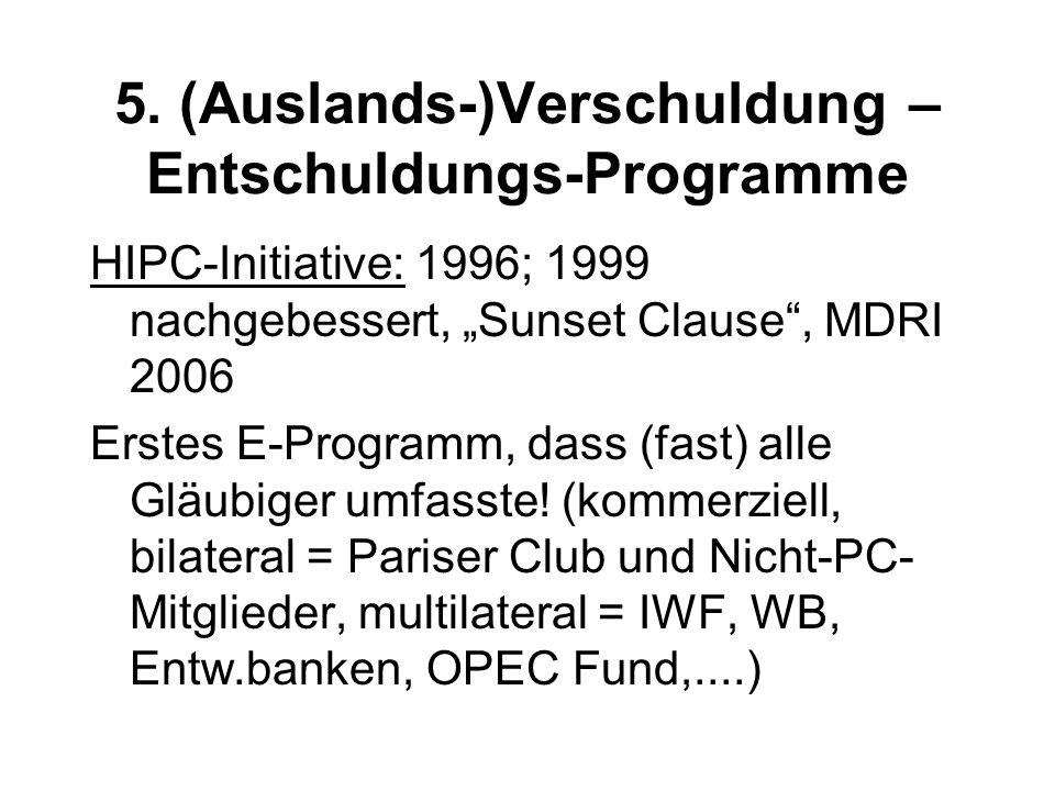 """5. (Auslands-)Verschuldung – Entschuldungs-Programme HIPC-Initiative: 1996; 1999 nachgebessert, """"Sunset Clause"""", MDRI 2006 Erstes E-Programm, dass (fa"""