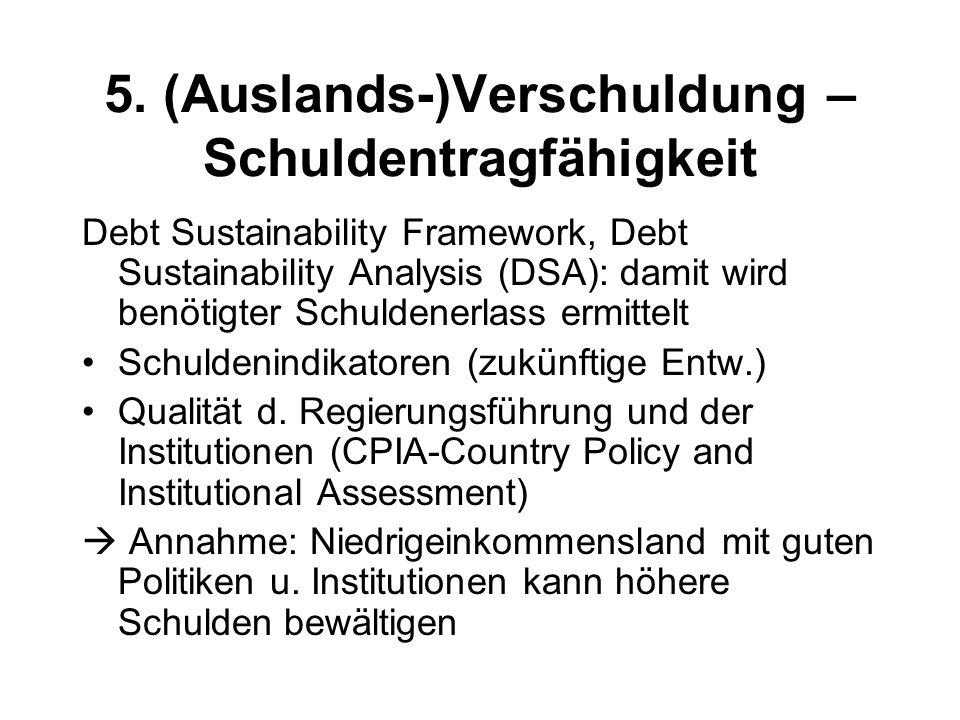 5. (Auslands-)Verschuldung – Schuldentragfähigkeit Debt Sustainability Framework, Debt Sustainability Analysis (DSA): damit wird benötigter Schuldener