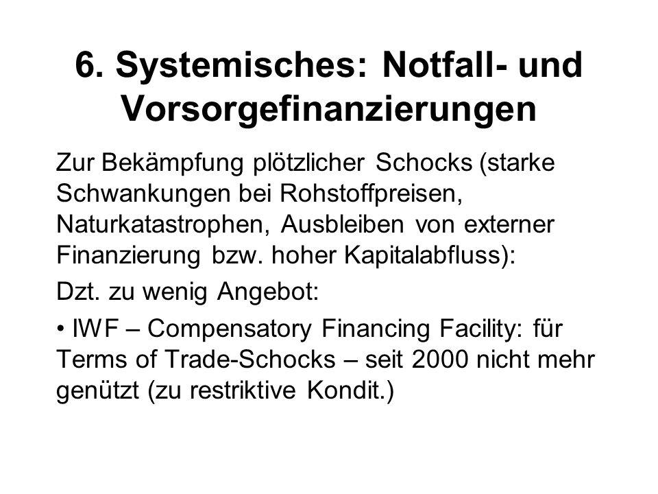 6. Systemisches: Notfall- und Vorsorgefinanzierungen Zur Bekämpfung plötzlicher Schocks (starke Schwankungen bei Rohstoffpreisen, Naturkatastrophen, A