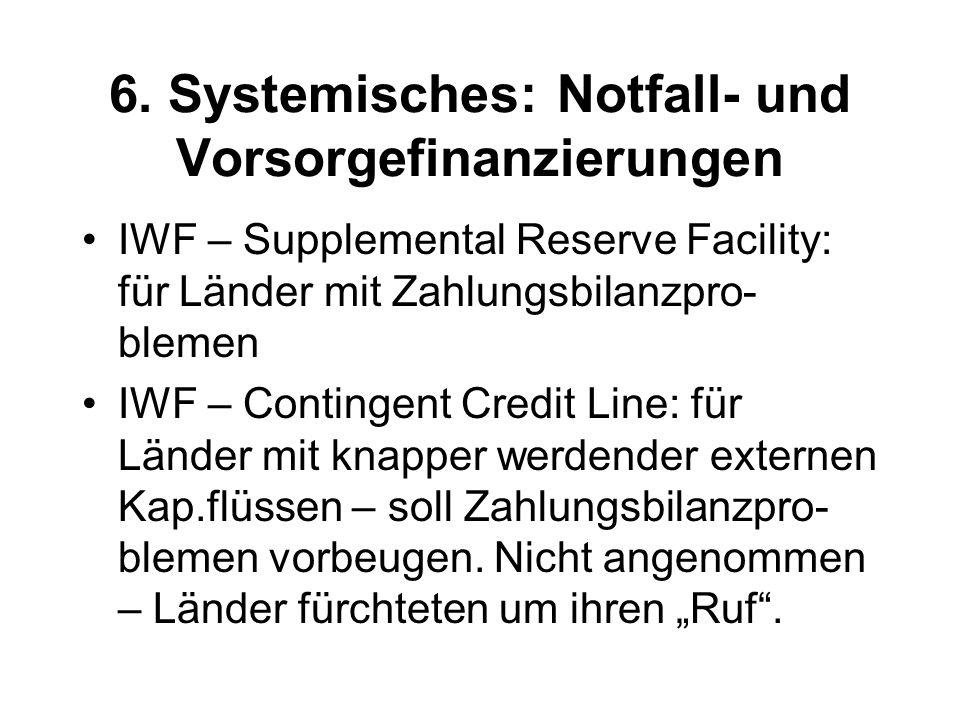 6. Systemisches: Notfall- und Vorsorgefinanzierungen IWF – Supplemental Reserve Facility: für Länder mit Zahlungsbilanzpro- blemen IWF – Contingent Cr