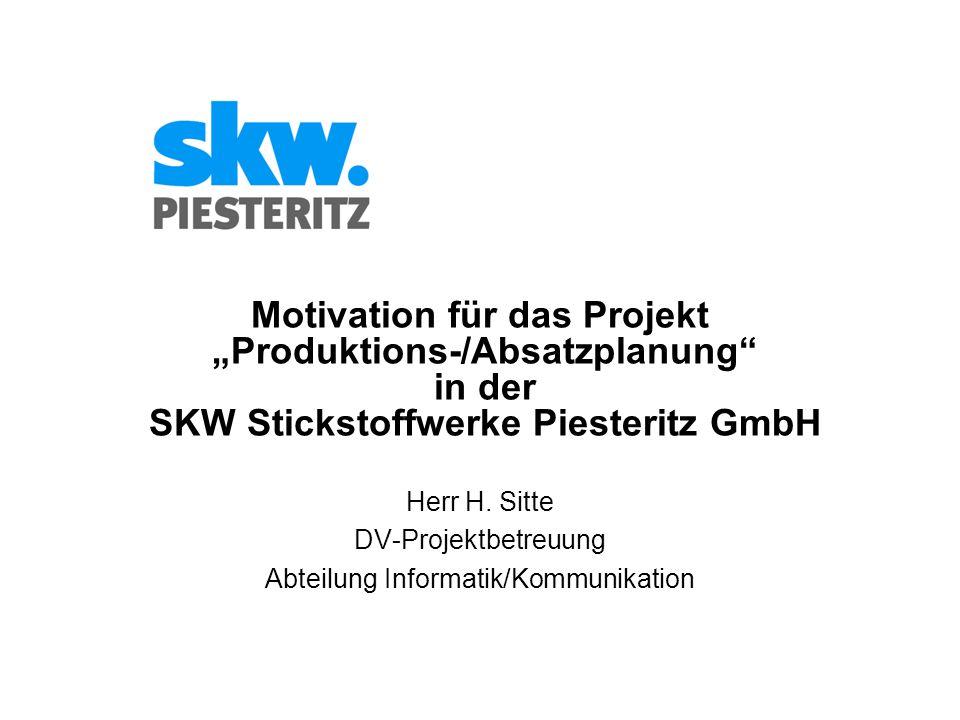 """Motivation für das Projekt """"Produktions-/Absatzplanung in der SKW Stickstoffwerke Piesteritz GmbH Herr H."""