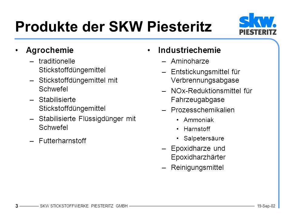 SKW STICKSTOFFWERKE PIESTERITZ GMBH 4 19-Sep-02 Meilensteine des SAP-Einsatzes 19921993199419951996199719981999200020011991 SAP R/2 in Piesteritz SAP R/2 in Trostberg SAP R/3 Verladesystem mit Kopplung zum R/2-System Haus- währungs- Umstellung 2002 SAP R/3SAP BW CTI eCommerce- Plattform