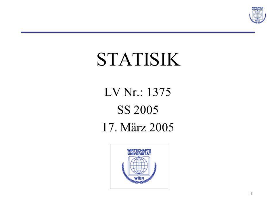12 Statistische Tests Trifft H 0 zu und entscheidet man sich für H 1, dann ist die Wahrscheinlichkeit dabei einen Fehler zu machen ≤ α (α bekannt, wird festgelegt).