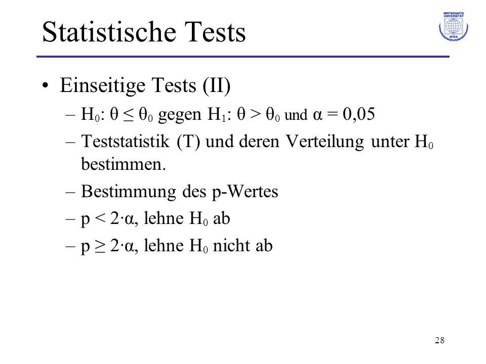 28 Statistische Tests Einseitige Tests (II) –H 0 : θ ≤ θ 0 gegen H 1 : θ > θ 0 und α = 0,05 –Teststatistik (T) und deren Verteilung unter H 0 bestimmen.