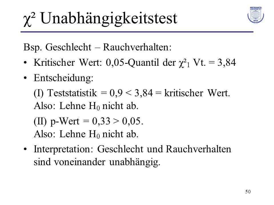 50 χ² Unabhängigkeitstest Bsp.