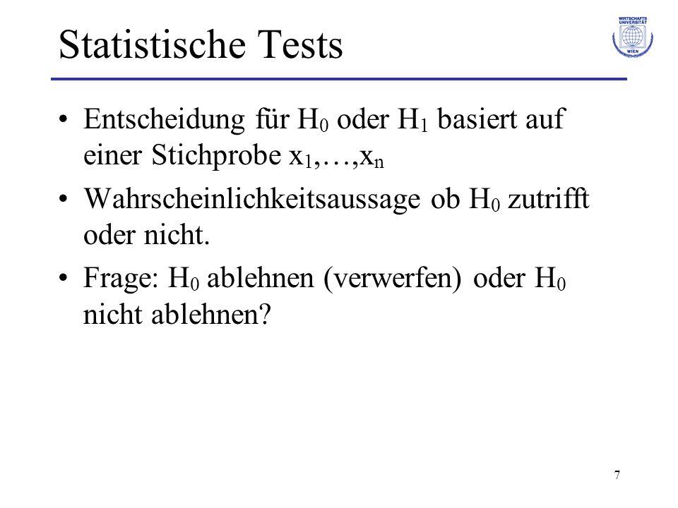7 Statistische Tests Entscheidung für H 0 oder H 1 basiert auf einer Stichprobe x 1,…,x n Wahrscheinlichkeitsaussage ob H 0 zutrifft oder nicht.