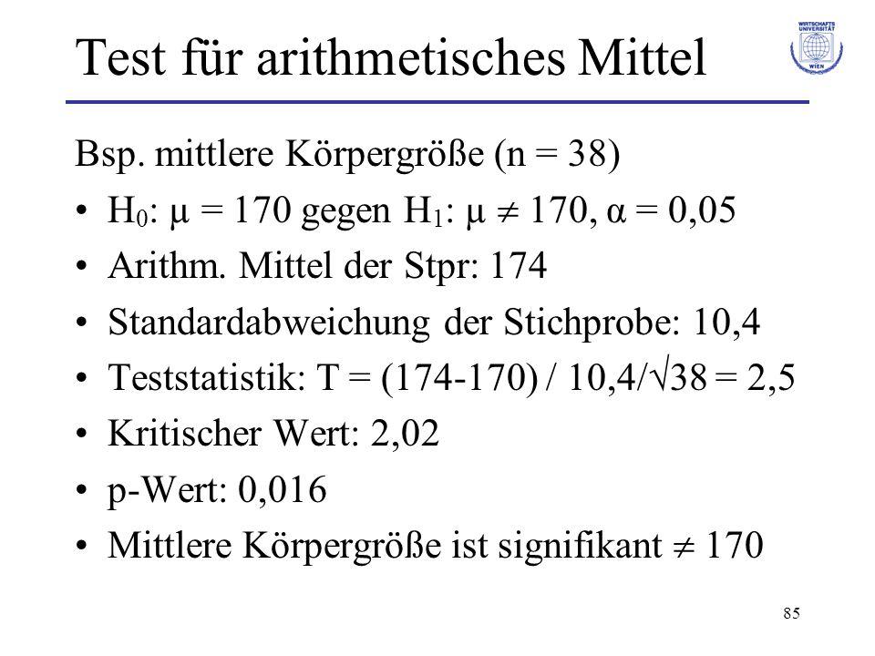 85 Test für arithmetisches Mittel Bsp.
