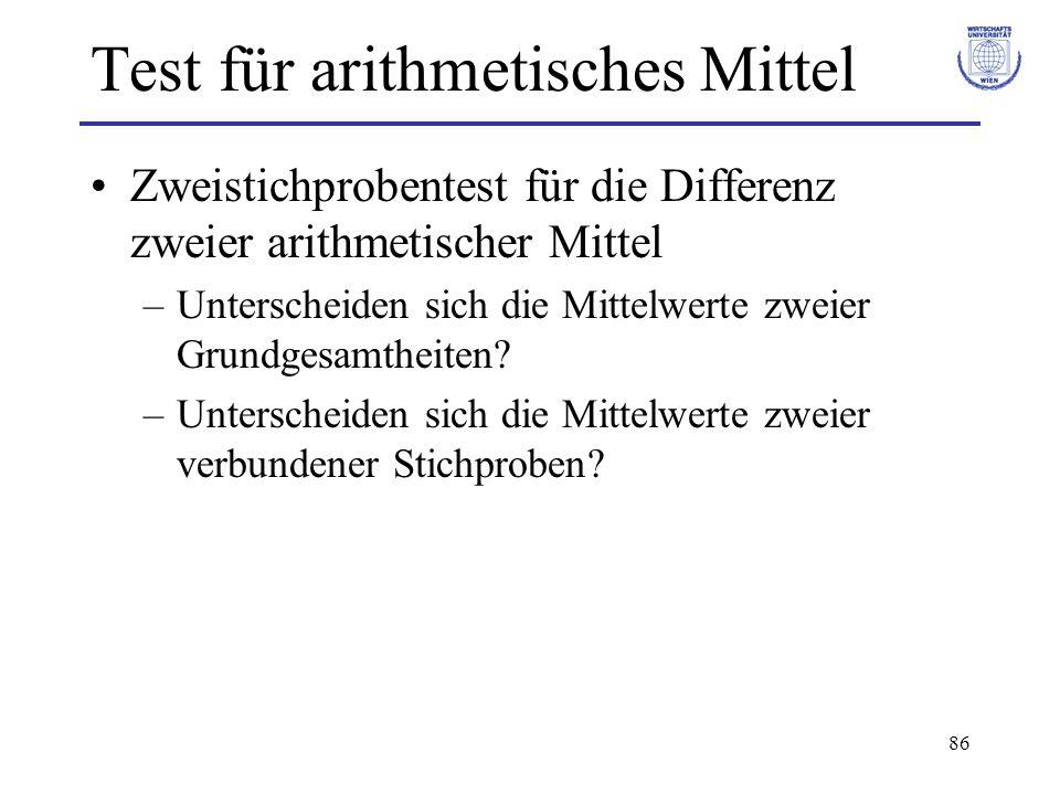 86 Test für arithmetisches Mittel Zweistichprobentest für die Differenz zweier arithmetischer Mittel –Unterscheiden sich die Mittelwerte zweier Grundgesamtheiten.